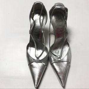 Roger Vivier Silver Pointed Toe Heels Pumps 37.5